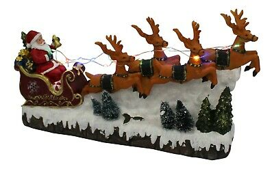 £29.99 • Buy Large Santa In Snow On Sleigh With Reindeer With Led Lights & Music Battery