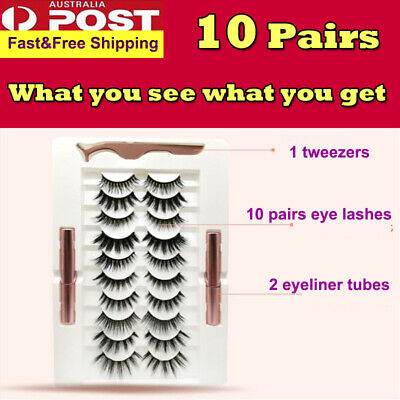 AU19.99 • Buy 10pairs Magnetic False Eyelashes Reusable Lashes Extension Liquid Eyeliner Set