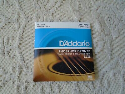 $ CDN15.55 • Buy  D Addario Phosphor Bronze Acoustic Guitar 12 Strings Set EJ38 (.010-.047)