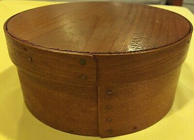"$ CDN66.31 • Buy Round Wood Pantry Box W/lid-wood Peg & Copper Nail Construction-6 3/4"" Diameter"