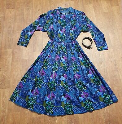 AU267.39 • Buy Original 1970s Vintage Liberty Wool Shirt Dress UK Size 12 Vintage Clothing