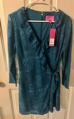 $54.99 • Buy Lilly Pulitzer New With Tags Dark Teal Tiki Wrap Ruffle Romper Size Medium