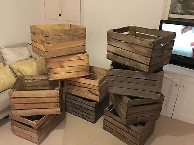 Vintage Wooden Apple/Fruit Crate, Rustic Old Bushel Box, Shabby Chic Storage • 16.95£