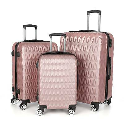 3pcs Hard Shell Luggage Suitcase Set Travel Luggage Trolley Case - Rose Gold  • 65.99£