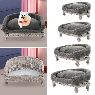 £34.95 • Buy Handmade Wicker Pet Bed Dog Cat Sofa Couch Puppy Vintage Chair With Grey Cushion