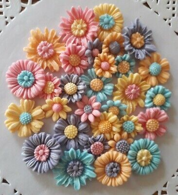 30 Flowers Pastel Edible Sugarpaste Icing Birthday Mothers Day Cake Toppers • 5.50£