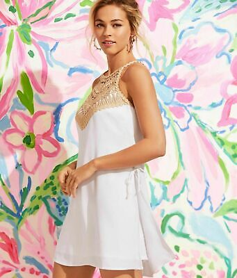 $69.99 • Buy Lilly Pulitzer Pearl Romper Resort White Gold Lace Neckline  12; NWT$178 SALE