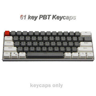61 Keys PBT Thick 60% Keycaps ANSI For MX Switches Mechanical Keyboard Backlit • 18.95£