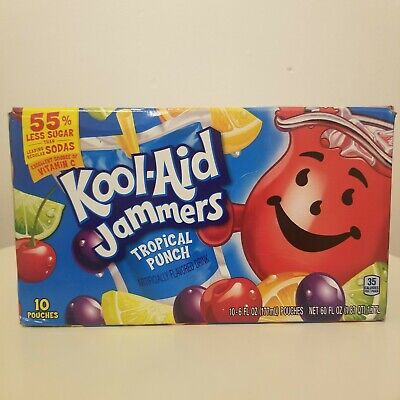 KOOL AID 10 Pouch Pack. Jammers. Tropical Punch.USA IMPORT. 177ml X 10 UK Seller • 8.99£