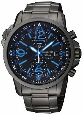 $ CDN370.32 • Buy Seiko Men's Solar Chronograph Black Bracelet Blue Numbers Handsome Watch SSC079