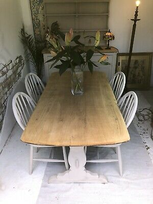 Ercol Refectory Dining Table And Windsor Chairs Refurbished • 455£