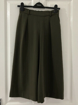 Uniqlo Green Khaki Wide Leg Crop Trousers Small  • 1.50£
