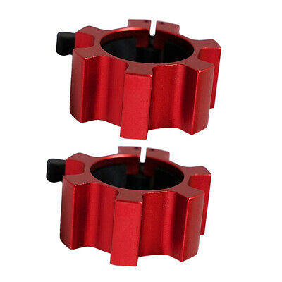 $ CDN24.93 • Buy 2PC Solid 2'' Barbell Collars Gym Spin Lock Weightlifting Weight Bar Lock Red