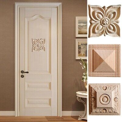 $7.73 • Buy 4pcs Woodcarving Decal Onlay Flower Board Wood Frame Applique Cabinet Wall Decor