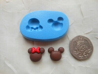 £4 • Buy Mini Craft Mould: Twin Mini Mickey & Minnie Mouse Face Outlines 11x14mm