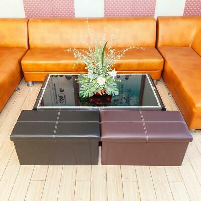 Faux Leather Ottoman Pouffe Storage Toy Box Foot Stools 2 Seater Bench Seat UK • 16.95£