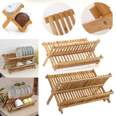 16/20 Slot Dish Drainer Wooden Dry Plate Rack Foldable Kitchen Sink Stand 2 Tier • 11.95£