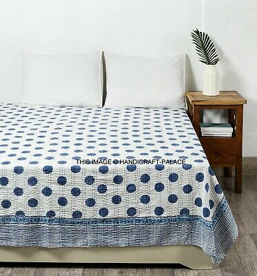 Indian Hand Block Print Quilt Kantha Bedspread Throw Cotton King Size Blanket • 42.99£