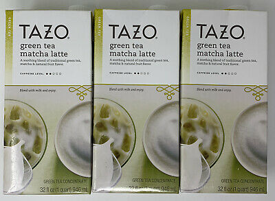 TAZO Green Tea Match Latte Green Tea Concentrate 32 Oz - 3 Ct Best By June 2020 • 23.61£