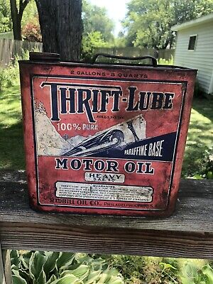 $ CDN303.12 • Buy Vintage 2 Gallon Thrift-Lube Motor Oil Can Gas Oil Soda Car Graphics