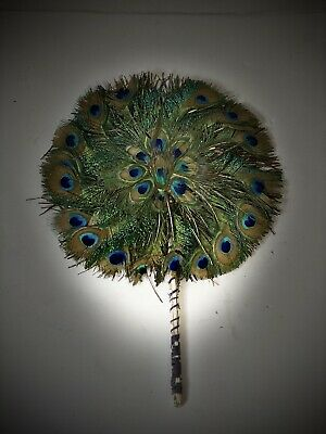 Rare - 19th Century Handmade Peacock Feather Hand Fan, Vintage, Collectible, Old • 590£