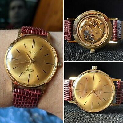 Gents Vintage Poljot De Luxe 23 Jewels USSR Gold Plated Wind Watch - Working  • 69.95£