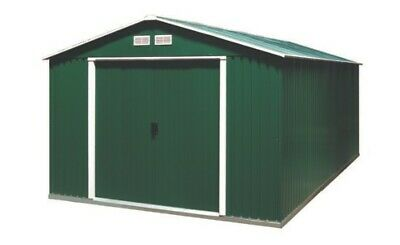 DuraMax Colossus Metal Garden Shed 10'x8', Green With Off White Trim. Brand New. • 140£