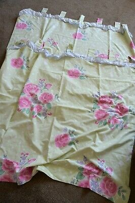 Next Pretty Green Floral Bedroom Curtains, Tab Top, 53  X 54 , VGC, Poly/cotton • 9.99£