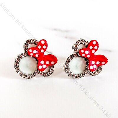 Cute Mickey Minnie Mouse Stud Earrings Red Bow Disney Themed Trendy + GIFT BOX • 7.99£
