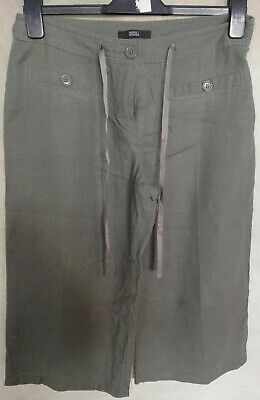 Ladies M&S Khaki Cropped Trousers Size 12S Linen Mix • 1.99£