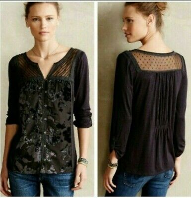 $ CDN35.68 • Buy Anthropologie Meadow Rue Tivia Velvet Burnout Black Small Blouse