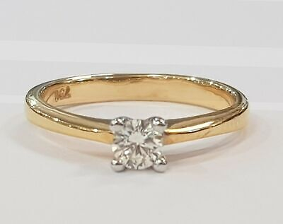 AU399 • Buy 18ct YELLOW & WHITE GOLD DIAMOND SOLITAIRE RING TDW 20pt VALUED $1559