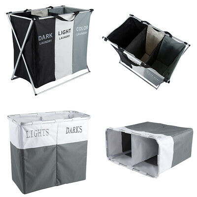 Folding Laundry Clothes Basket 2 / 3 Section Wash Hamper Bin Dirty Storage Bag • 11.60£