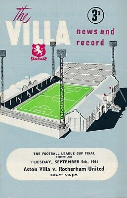 LEAGUE CUP FINAL PROGRAMME 1961 Aston Villa V Rotherham United • 199.99£