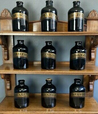 Fantastic Rare Victorian Set Of 9 Large Antique Apothecary Bottles Chemist Jars • 2,950£