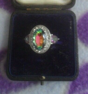 Silver Ring - Size 9 - With Mystic Topaz Surrounded By Diamante's - New • 10£