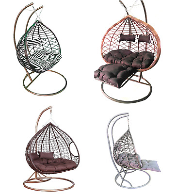 Rattan Effect Hanging Egg Chair Swing Patio Garden Room Cushion Rain Cover  • 324.99£