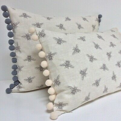 Bumble Bee Cushion Cover Grey Ivory Vintage Fabric With Pom Pom Trim Fits 12x18  • 13£