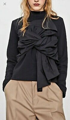 $33 • Buy ZARA Women Sweatshirt With Expansive Bow Detail Black Size Large NWT