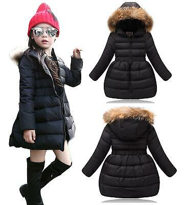 Kids Quilted Padded Girls Long Parka Coat With Faux Fur Trim Hood - Black • 14.99£