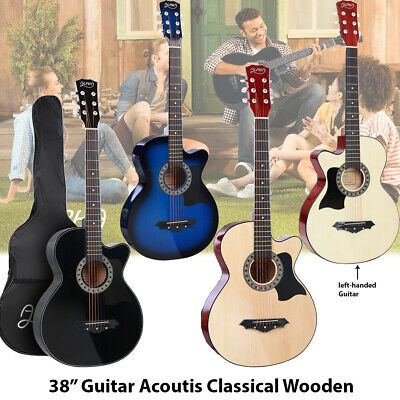 """AU108.90 • Buy 38"""" Acoustic Guitar Classical Wooden Folk Strings CAPO, Tuner, Strap, Pick"""