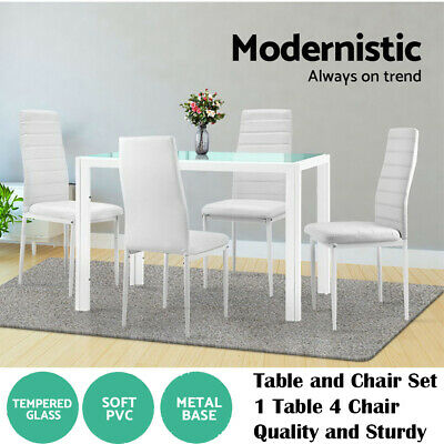 AU222.90 • Buy Dining Table Chairs Set 5pcs Dinner Set Glass Tables Leather Seater Chairs