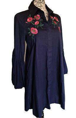 AU23.62 • Buy Zara Basic Womens Embroidered Shirt Dress Size 8