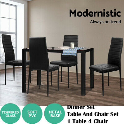 AU222.90 • Buy Dinner Set 5pcs Dining Table And Chairs Glass Leather Kitchen 1 Table 4 Chairs