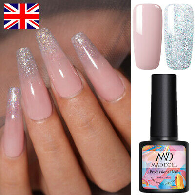 2 Bottles/Set 8ml MAD DOLL UV Gel Nail Polish Soak Off Glitter Color Gel Varnish • 4.99£