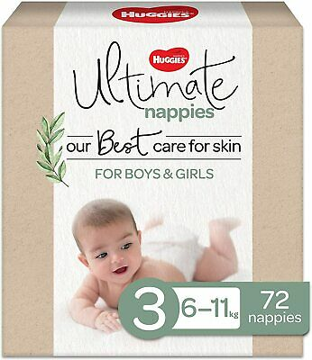 AU38.15 • Buy Huggies Ultimate Nappies, Unisex, Size 3 (6-11kg), 72 Count