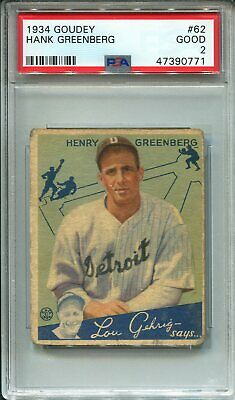 $650 • Buy 1934 Goudey #62 Hank Greenberg PSA 2