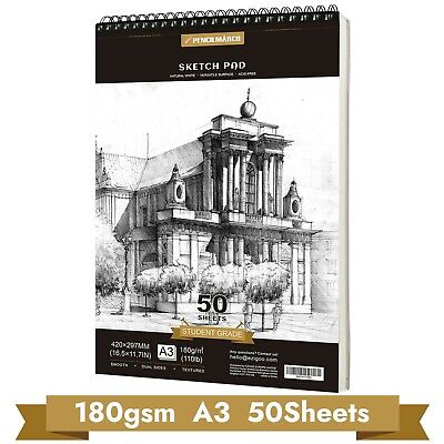 Sketch Book Drawing Pad A3*50 Sheets 180gsm Spiral Bound Sketch Pad PENCILMARCH • 13.79£