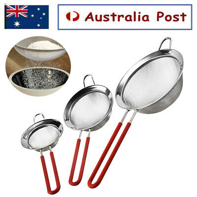 AU10.99 • Buy Stainless Steel Flour Colander Sifter Oil Sieve Strainer Kitchen Tools House