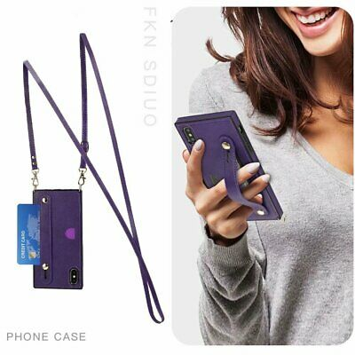 AU14.20 • Buy With Neck Strap Crossbody Phone Case Cover Credit Card Holder PU Leather Back